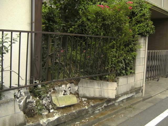 ブロック塀の破壊破損
