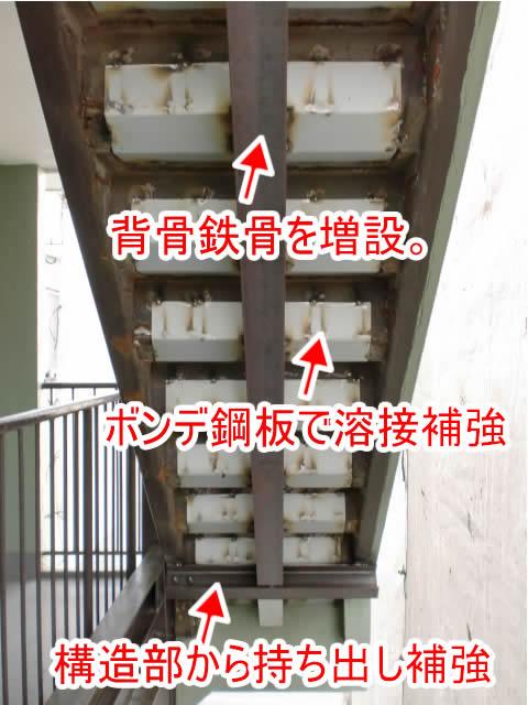 鉄骨階段の補強工法