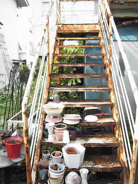 老朽化した鉄骨階段