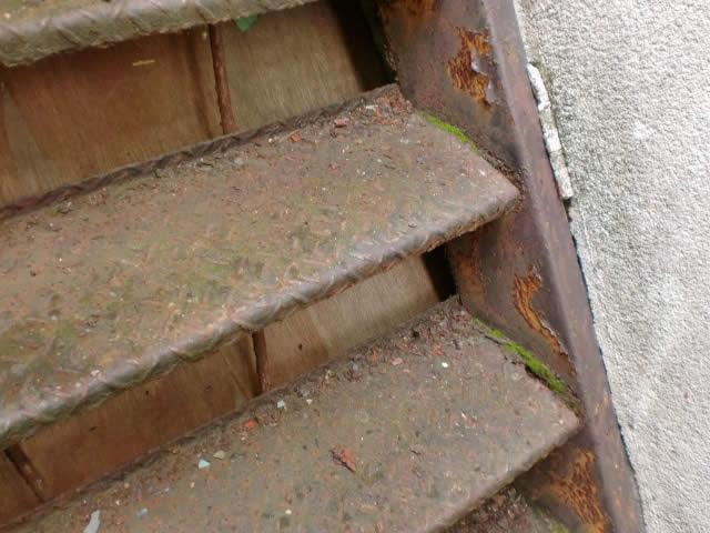 苔の生えた鉄骨階段