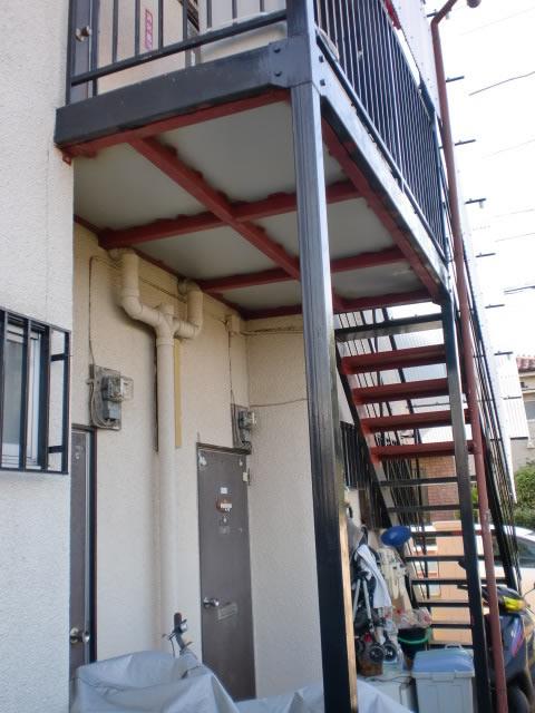 アパート鉄骨階段補修