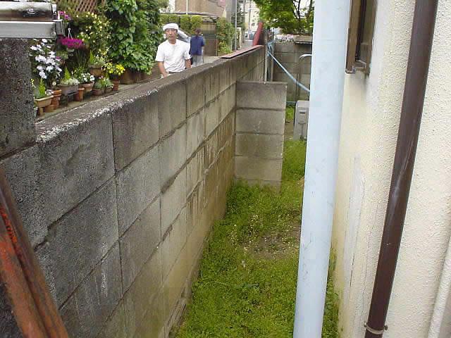 ぐらぐらするブロック塀
