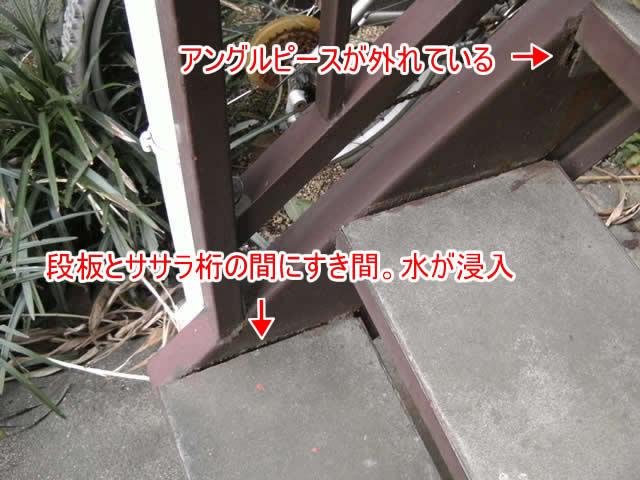 鉄骨階段の腐食の原因