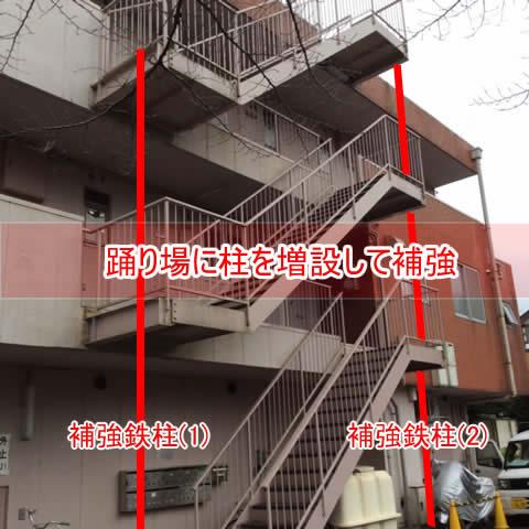 片持ち階段に柱を像節補強イメージ