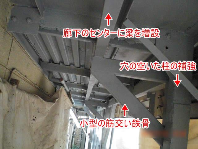 梁増設を中心とした鉄骨廊下補強の図解