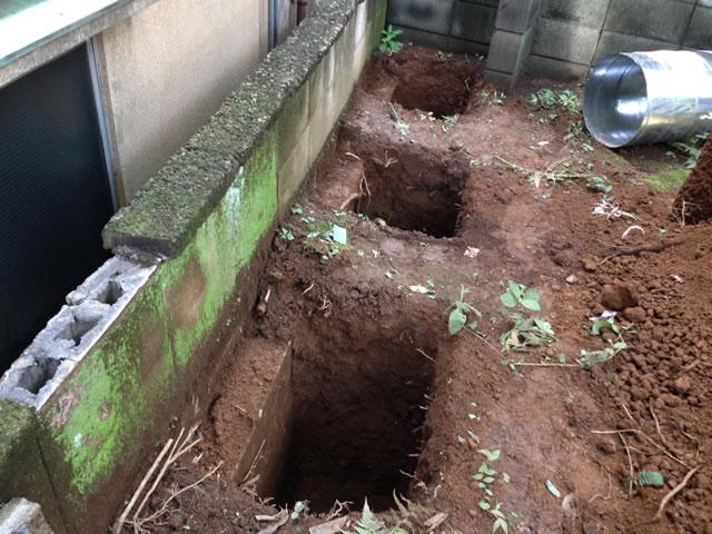 新基礎のための穴