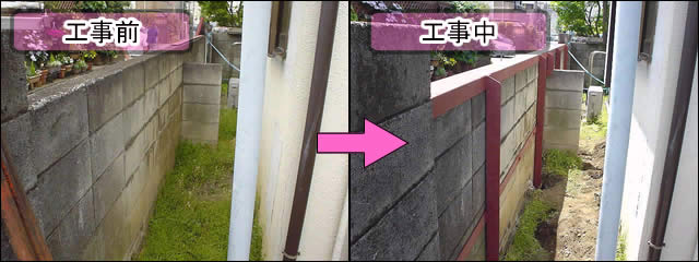 グラグラするブロック塀を補強する