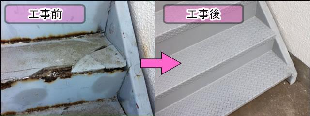 チェッカープレートを使用した鉄骨階段補強