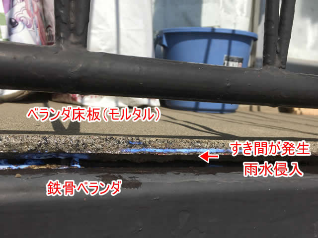 鉄骨ベランダの床板の浮き
