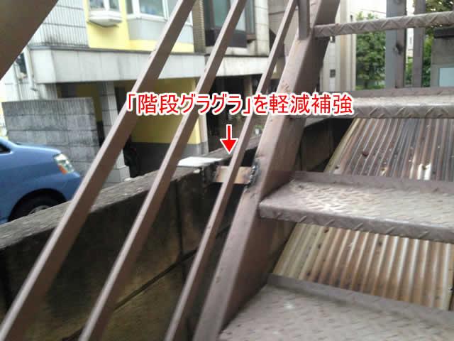 階段のぐらつきを補強