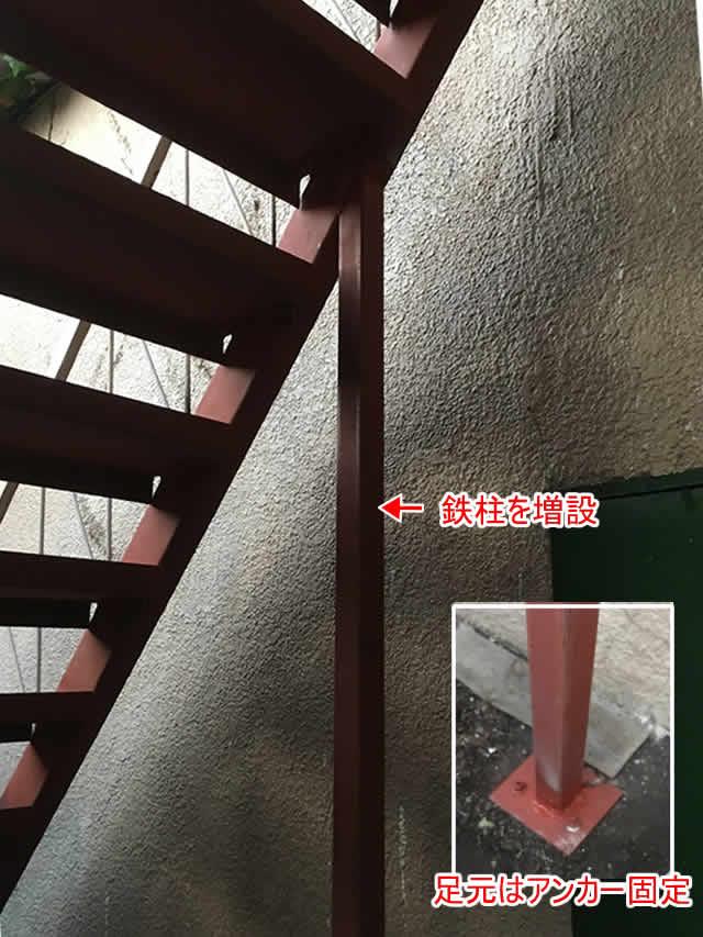階段のグラグラを抑える柱