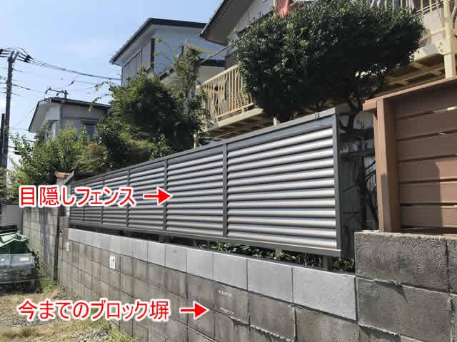 ブロック塀に目隠しフェンス