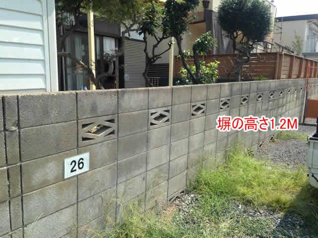 ブロック塀が低い