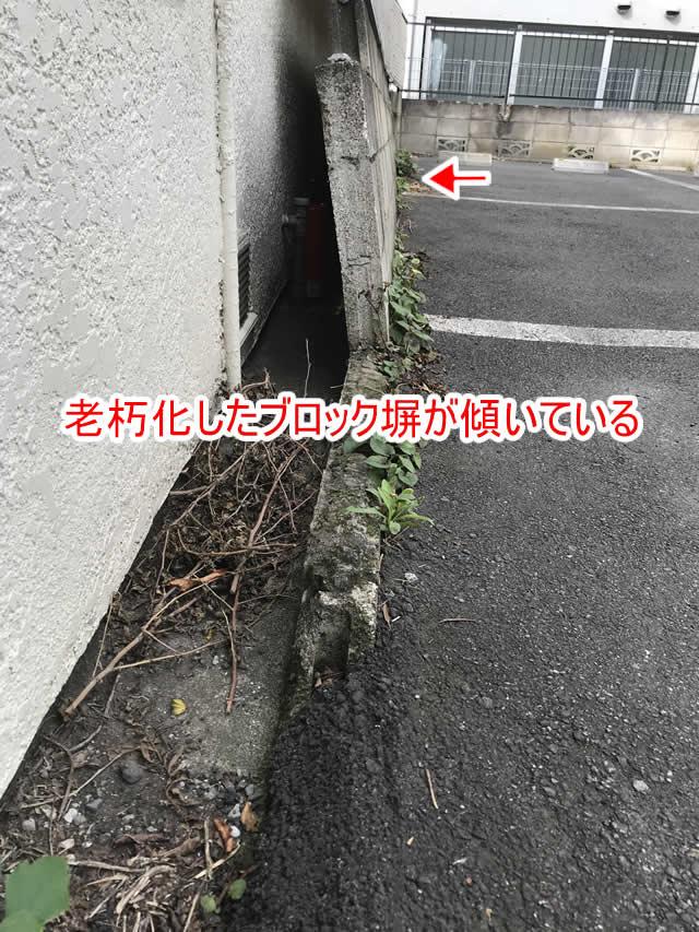 老朽化したブロック塀が傾いている