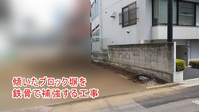 傾いたブロック塀(工事前)