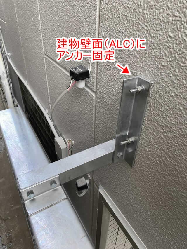 建物壁面(ALC)にアンカー固定