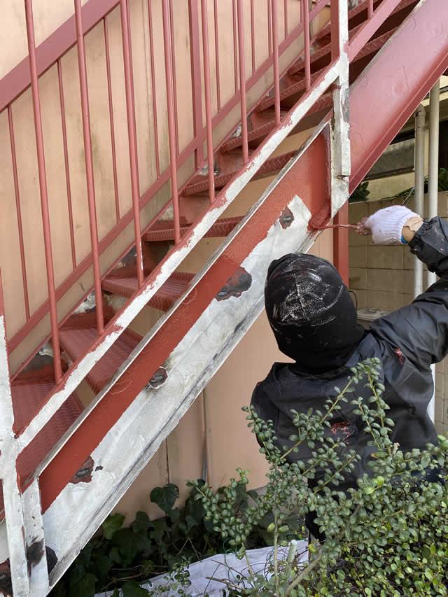 外階段のウレタン塗装